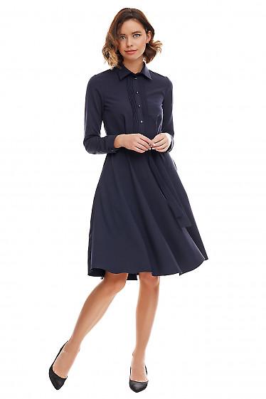 Купить платье синее деловое со складками. Деловая женская одежда фото