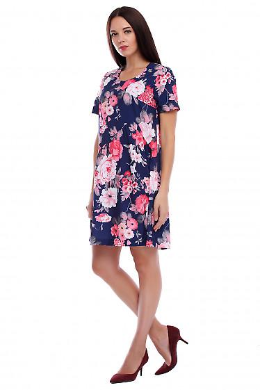 Купить платье синее в коралловые цветочки. Деловая женская одежда фото