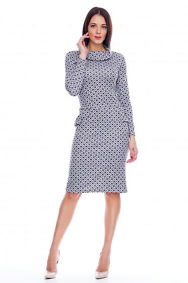 Платье трикотажное в синий кружочек Деловая женская одежда фото