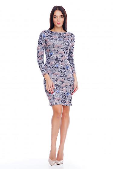 Платье теплое серое в цветы Деловая женская одежда фото