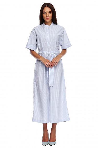 Платье в пол со стойкой в голубую полоску. Деловая женская одежда фото