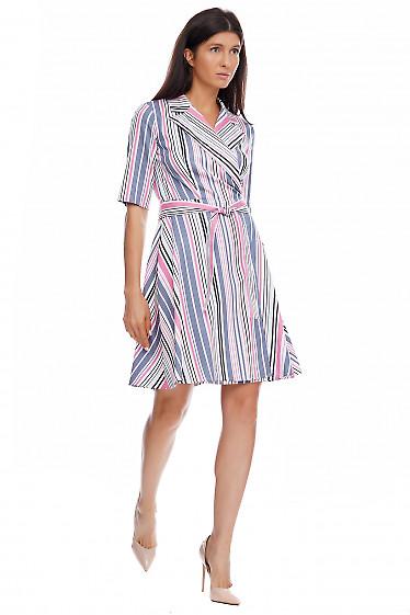 Купить платье в серую полоску на запах. Деловая женская одежда фото