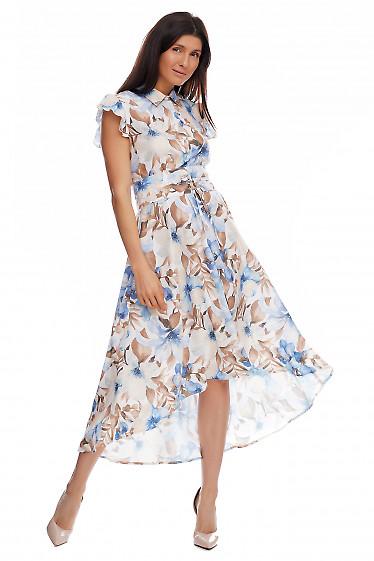 Платье в синие лилии. Деловая женская одежда фото