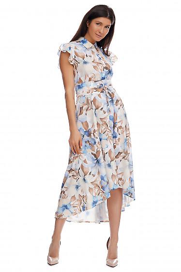 Купить платье в синие лилии. Деловая женская одежда фото