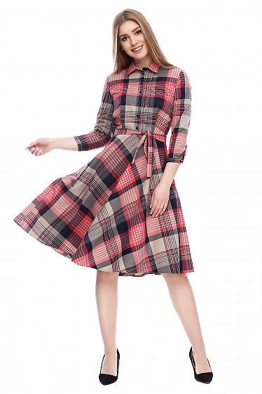 Платье весеннее в клетку с пышной юбкой Деловая женская одежда фото