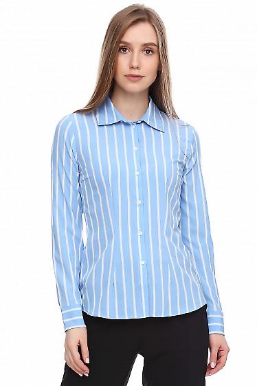 Купить классическую голубую рубашку. Деловая женская одежда фото