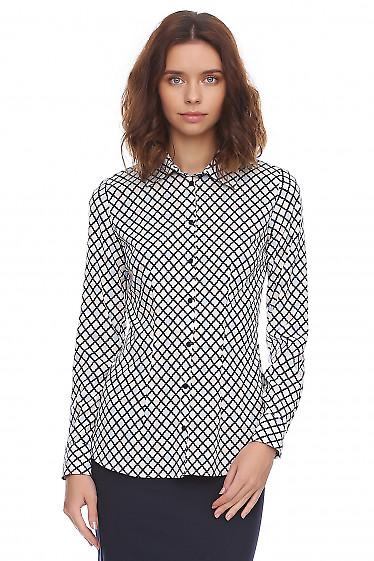 Рубашка женская в ромбик разноцветный. Деловая женская одежда фото