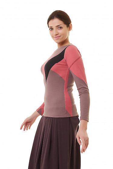 Купить тунику розовую с черным узором Деловая женская одежда фото