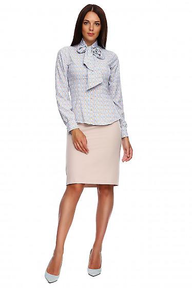 Купить бежевую юбку-карандаш без пояса. Деловая женская одежда фото