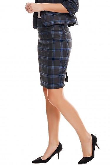 Купить юбку черную в крупную синюю клетку Деловая женская одежда фото