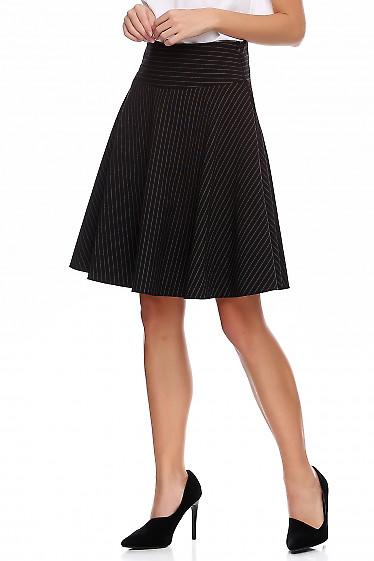 Купить юбка чёрная в полоску полусолнце. Деловая женская одежда фото