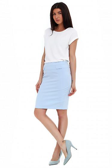 Купить голубую юбку. Деловая женская одежда фото