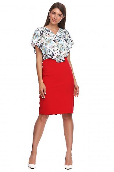 Купить красную юбку без пояса. Деловая женская одежда фото