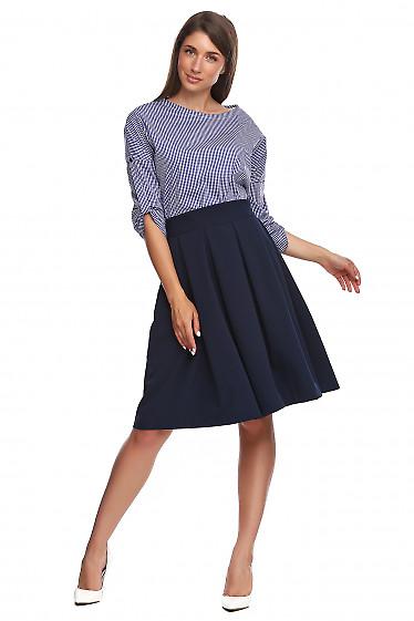 Юбка синяя в складку с высоким поясом. Деловая женская одежда
