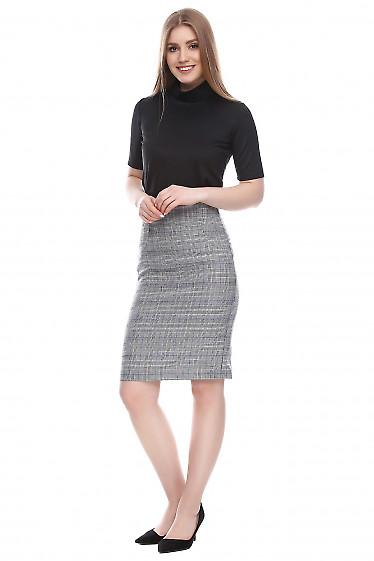 Купить юбку в черно-белую клетку Деловая женская одежда фото