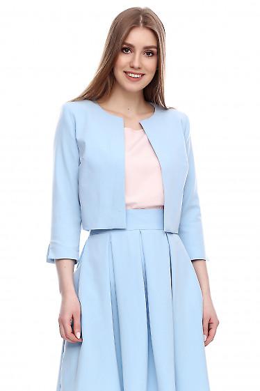 Жакет-болеро голубой Деловая женская одежда фото