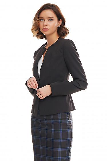 Купить жакет чёрный без воротника со вставками Деловая женская одежда фото