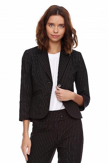 Жакет чёрный в широкую полоску. Деловая женская одежда