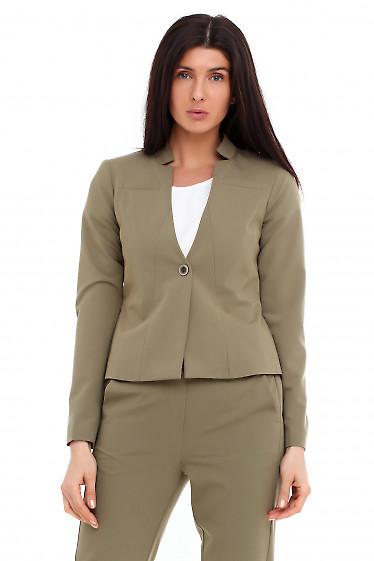 Жакет оливковый с карманом на груди Деловая женская одежда фото
