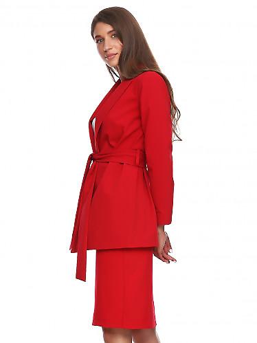 Купить жакет просторный красный на запах. Деловая женская одежда фото