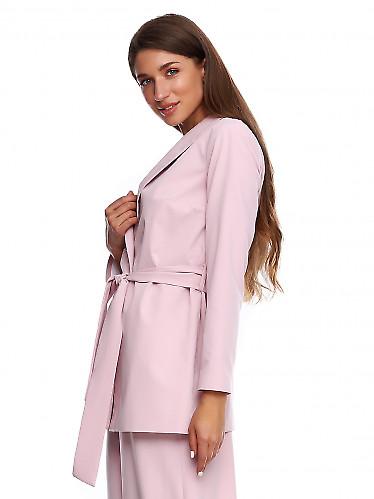 Купить жакет просторный розовый на запах. Деловая женская одежда фото