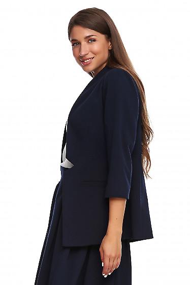 Купить жакет синий без застежки. Деловая женская одежда фото
