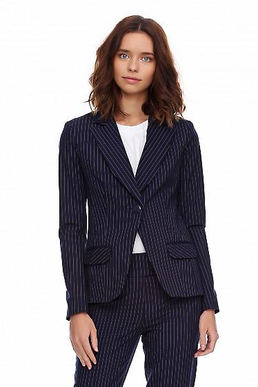 Жакет удлиненный синий в полоску. Деловая женская одежда фото