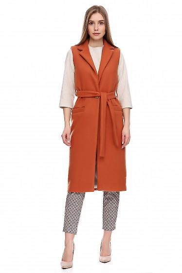 Купить жилет рыжий шерстяной. Деловая женская одежда фото