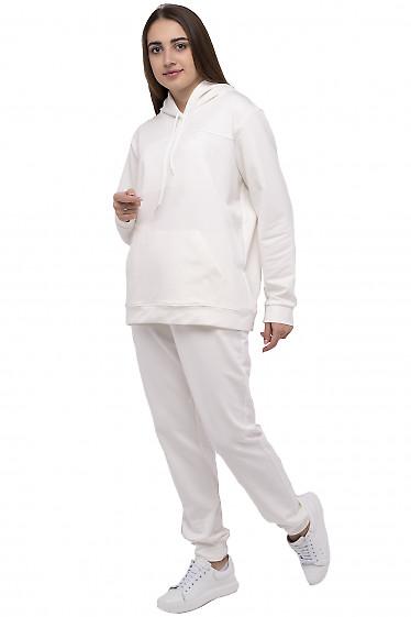Белый спортивный костюм с худи женский