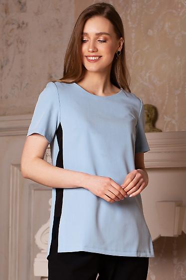 Блуза голубая со вставками. Деловая женская одежда фото