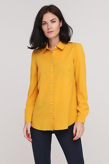Блузка-рубашка горчичная Деловая женская одежда фото