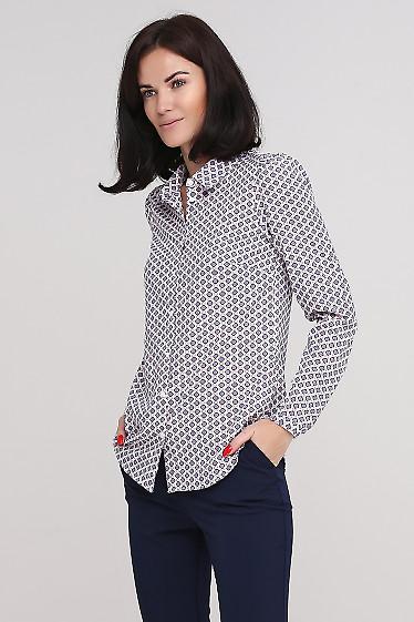Блузка-рубашка в ромбики Деловая женская одежда фото