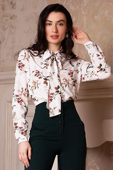 Купить блузку белую в розы с бантиком. Деловая женская одежда фото