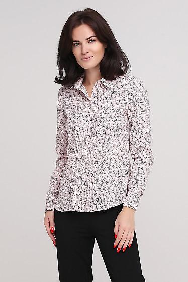 Блузка бледно-розовая в листочки Деловая женская одежда фото