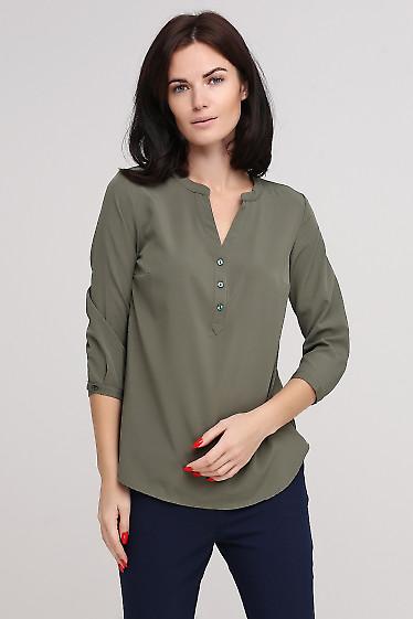 Блузка цвета хаки Деловая женская одежда фото
