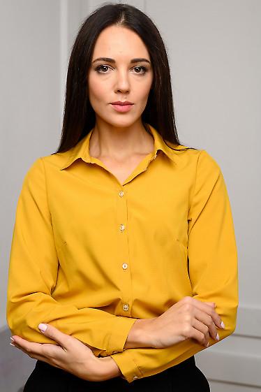 Блузка горчичная просторная. Деловая женская одежда фото