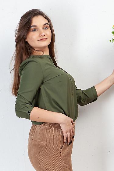 Купить блузку хаки с кокеткой. Деловая женская одежда фото