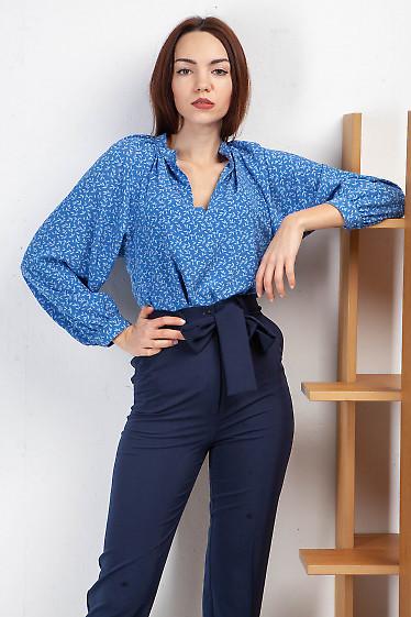 Блузка просторная синяя с белым. Деловая женская одежда фото