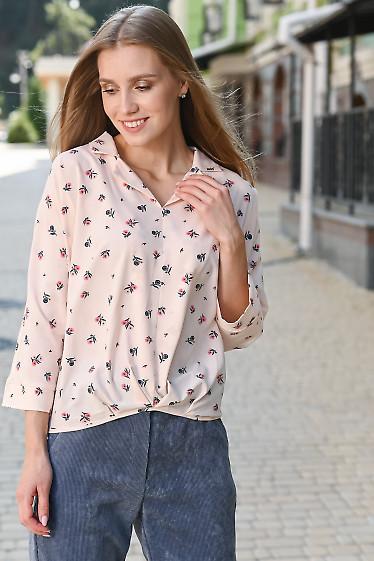 Блуза розовая в цветочный принт