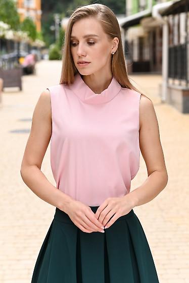 Блузка розовая со стойкой