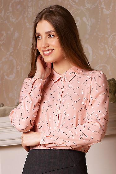 Блузка розовая в белые цветы. Деловая женская одежда фото