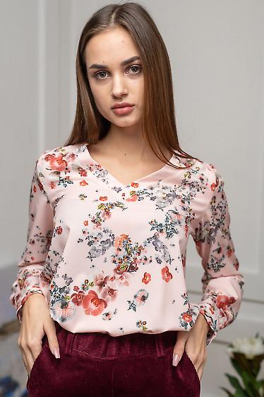 Блузка розовая в орхидеи. Деловая женская одежда фото