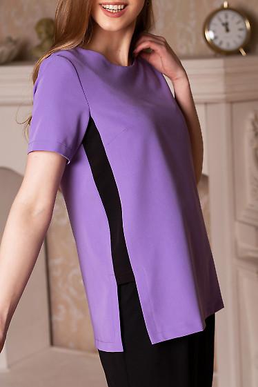 Купить блузку сиреневую со вставками. Деловая женская одежда фото
