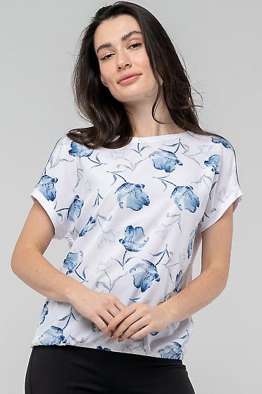 Блузка в цветы с белой спинкой. Деловая женская одежда