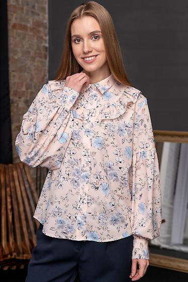 Блузка в цветы с рюшем. Деловая женская одежда фото