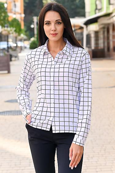 Блузка в клетку со спущенным плечом. Деловая женская одежда