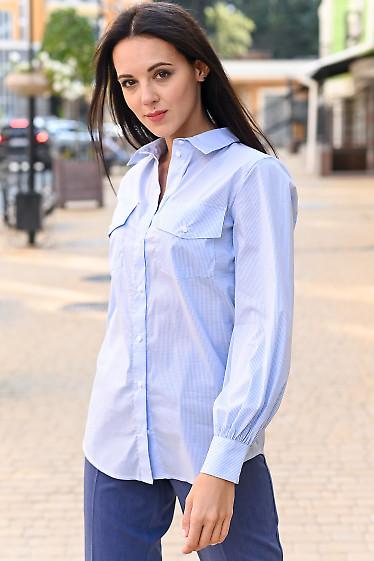 Блузка в клеточку с карманами. Деловая женская одежда