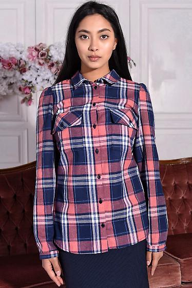 Блузка в сине-розовую клетку с карманами. Деловая женская одежда