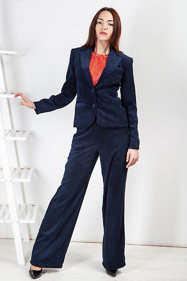 Купить брюки клеш из синего вельвета. Деловая женская одежда фото