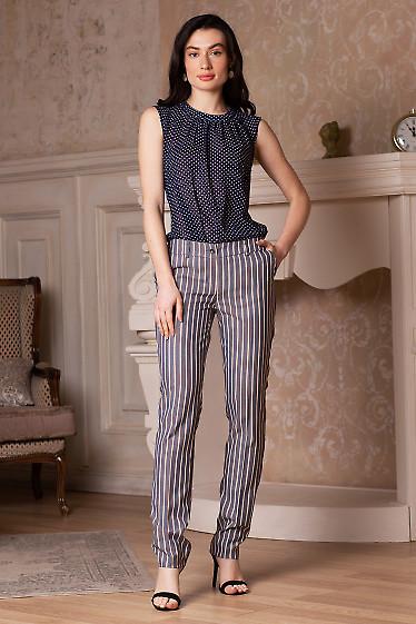 Купить брюки полосатые с разрезом. Деловая женская одежда фото